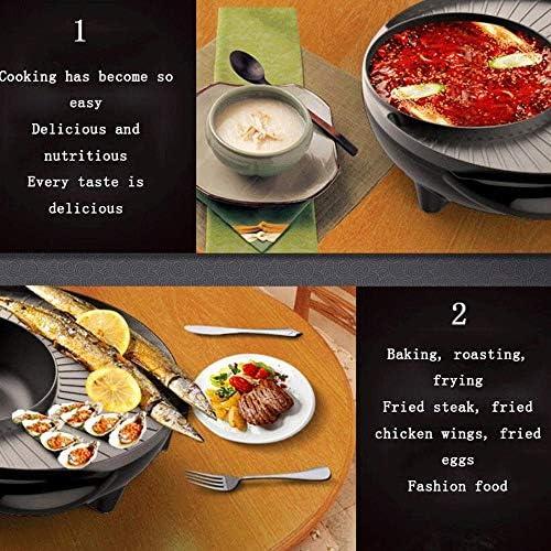 ZLSANVD Pratique électrique Grill, sans fumée ménages Plaque Facile à Nettoyer Grilled Poisson, Deux-en-Un Multi-Fonction électrique Hot Pot Barbecue