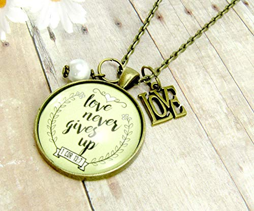 24″ Love Never Gives Up 1 Corinthians 13 Necklace Quote 1.20″ Shabby Chic Style 1.20″ Glass Circle Bronze Pendant