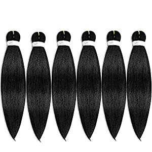 Pre-stretched Braiding Hair Easy Braid Professional Itch Free Synthetic Fiber Corchet Braids Yaki Texture Hair Extensions 6 packs Braid Hair 22 Inch (#1B)