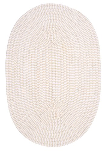 - Ticking Stripe Oval Area Rug, 5 by 8-Feet, Canvas