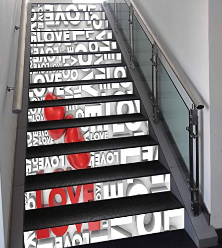 (Stair Stickers Wall Stickers,13 PCS Self-adhesive,Love Decor,Macro Big Love Texts Lettering Setting Passionate Emotions Feelings Sweetheart Design,Grey Red White,Stair Riser Decal for Living Room, Hal )