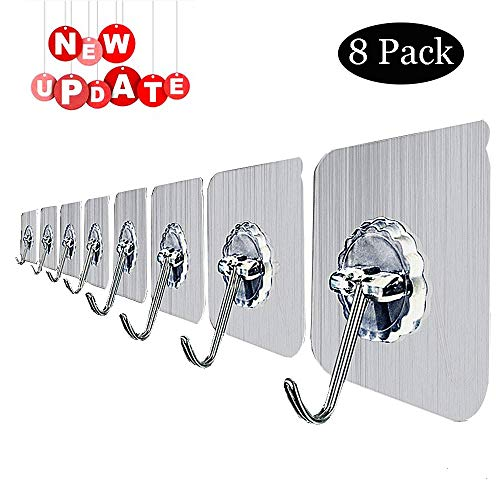 (Reusable Adhesive Hooks, Heavy Duty Wall Hooks 20lb(Max) No Scratch Waterproof and Oilproof for Keys, Coats, Robe, Bags, Kitchen, Bathroom, Bedroom, Kitchen, Refrigerator Door, Ceiling (Silver))