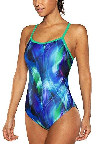 V for City Women Athletic Training Swimsuit One Piece Sport Swimwear Raceback Bathing Suit Green L - Fitness Swimwear