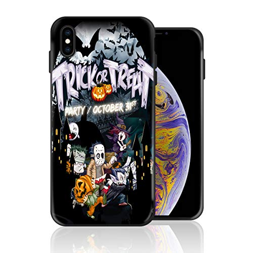 Silicone Case for iPhone Xs, Halloween Trick or Treat Design Printed Phone Case Full Body Protection Shockproof Anti-Scratch Drop Protection Cover -