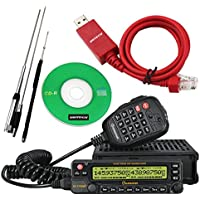 NKTECH USB Programming Cable & Quad Band Stainless Antenna WouXun KG-UV950P VHF UHF Quad Cross Band Car Truck Mobile Radio Transceiver Two Way Radio