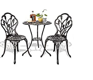 3 pcs Cast Aluminum Outdoor Table and Chair Set Bistro