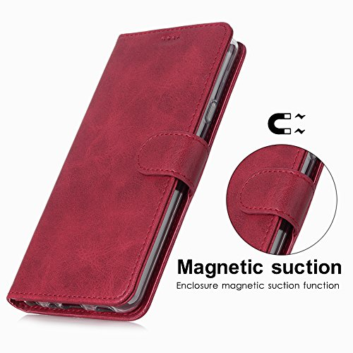 LG G7 Case/LG G7 ThinQ Case, Cress [Slim Fit] [Stand Feature] Flip Leather Wallet Case With Card Slot Magnetic Closure Bumper TPU For LG G7 (Red) by Cresee (Image #3)