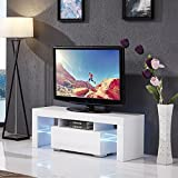 Mecor High Gloss TV Stand LED Lights, TV Shelves Console Storage Cabinet 2 Drawers Living Room White