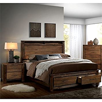 Amazon.com: Pemberly Row Rustic 2 Piece Queen Bedroom Set in ...