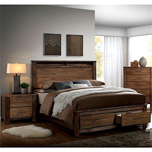 Pemberly Row Rustic 2 Piece Queen Bedroom Set in Oak (Bedroom Furniture Sets Queen Oak)