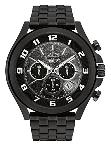 Harley-Davidson Men's Six-Hand Chronograph Watch, Matte Black Finish 78B146