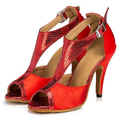 Tda Womens T-strap Serpente Peep Toe Tacco Alto Salsa Tango Da Ballo Sandali Latino Dance Rossi