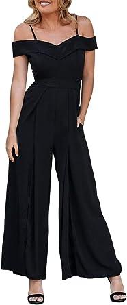 AU Women V Neck Romper Spaghetti Strap Wide Leg Pants Ladies Casual Jumpsuit