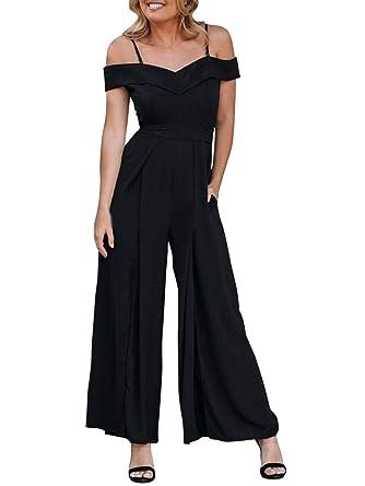c5e083f70956 Amazon.com  BerryGo Women s Elegant V Neck Wide Leg Split Jumpsuit ...