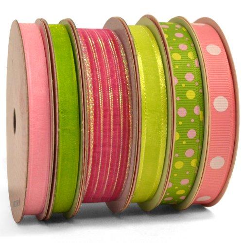 Morex Ribbon 6-Pack Polyester/Nylon Sweet Petite Ribbon, Lady in Pink, 46-Yd (Pink Ribbon Photo Cards)