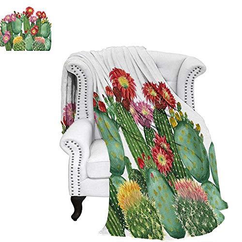 Decor Velvet Plush Throw Blanket Saguaro Barrel Hedge Hog Prickly Pear Opuntia Tropical Botany Garden Plants Weave Pattern Blanket 50