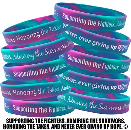 Fight Like a Girl Supporting, Admiring, Honoring Wristband Bracelet for Thyroid Cancer Suicide - Teal, Purple, Pink (10 Pack)