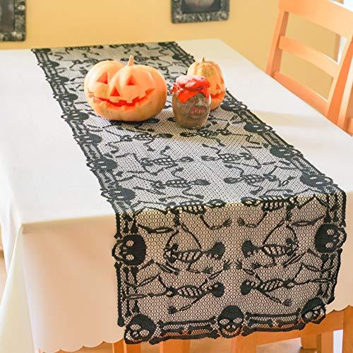 AHOLTA DESIGN Polyester Lace Black Halloween Table Runner, Skeletons Halloween Tablerunner- Halloween Table Decor, Halloween Party and Scary Movie Nights (Sceletons Halloween Table Runner 18