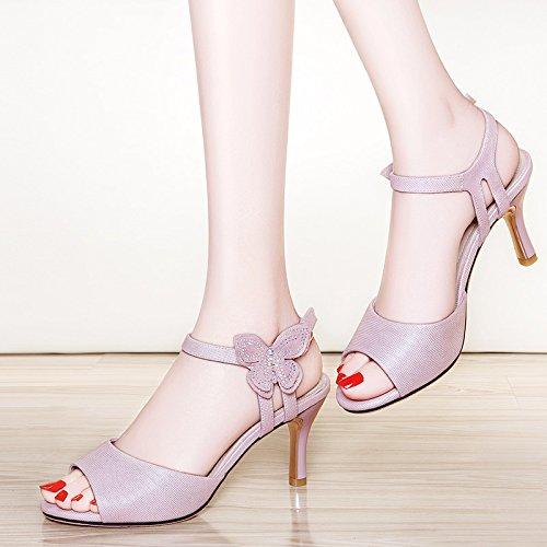 tacón Sandalias mujer alto Wild Fish de con Zapatos de alto zapatos Cómodo tacón pink mouth VIVIOO Sandalias de con Zapatos Baotou alto Summer tacón Verano de 0qgYPI
