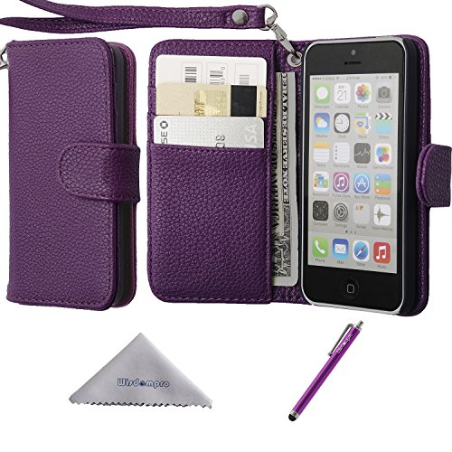iPhone 5c Case, Wisdompro Premium PU Leather 2-in-1 Protective [Flip Folio] Wallet Case with Multiple Credit Card Holder/Slots and Wrist Lanyard for Apple iPhone 5c (Purple)