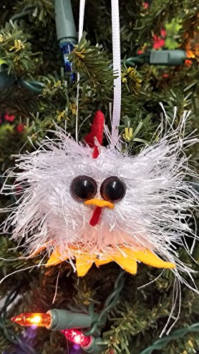 Farmhouse Rooster Handmade Funny Felted Christmas Ornament, Chinese