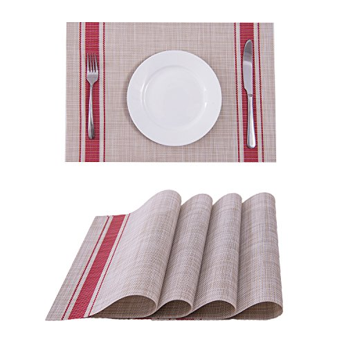 Set of 4 Placemats,Placemats for Dining Table,Heat-resistant Placemats, Stain Resistant Washable PVC Table Mats,Kitchen Table mats(Red)