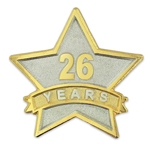 Service Star Pin (PinMart's 26 Year Service Award Star Corporate Recognition Dual Plated Lapel Pin)