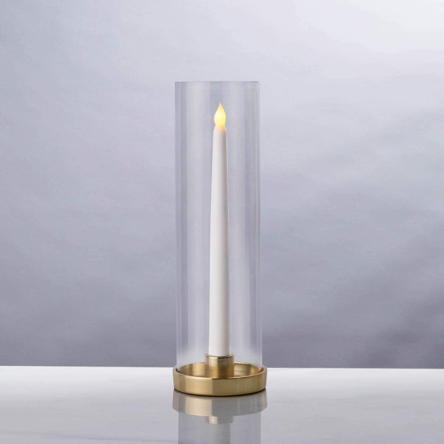 LampLust Hurricane Taper Candle Holder - Clear Glass Chimney with Brass Base, 12 Inch Tall, 3 Inch Diameter Tube, Wedding Table Centerpiece, Fits Standard Tapered Candlesticks