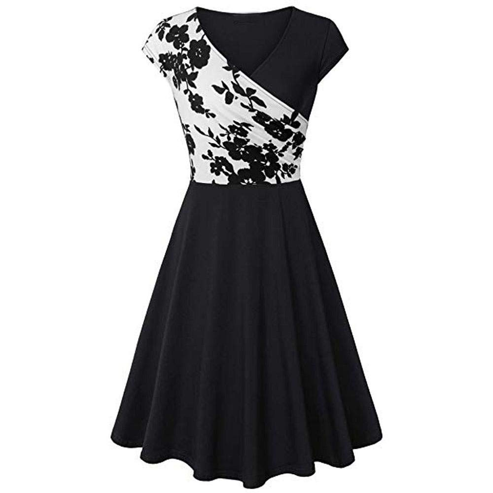 STORTO Womens Short Sleeve Cross V Neck Floral A Line Party Cocktail Swing Dress