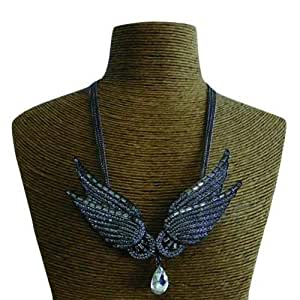 Schakespeare Women's Stainless Steel Wing Bib Necklace