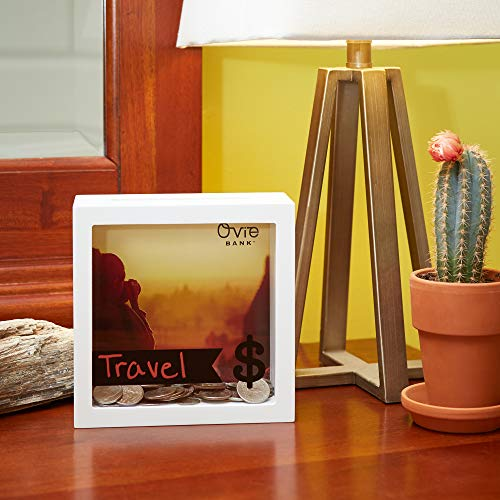OVIE Adult Piggy Bank $ - Shadow Box with Wood Frame - Keep in Kitchen to Track Vacation/Honeymoon/Wedding/Adventure Funds - 6X6 Frames - Clear Glass/Picture Background/Colored Markers by OVIE (Image #7)