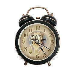 88 store Cute Dog Smoke Black Quiet Non-ticking Silent Mini Quartz Analog Retro Vintage Bedside Twin Bell Alarm Clock with Loud Alarm and Nightlight