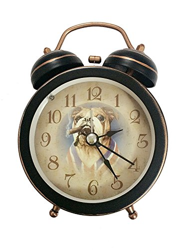 88 store Cute Dog Smoke Black Quiet Non-ticking Silent Mini Quartz Analog Retro Vintage Bedside Twin Bell Alarm Clock with Loud Alarm and Nightlight