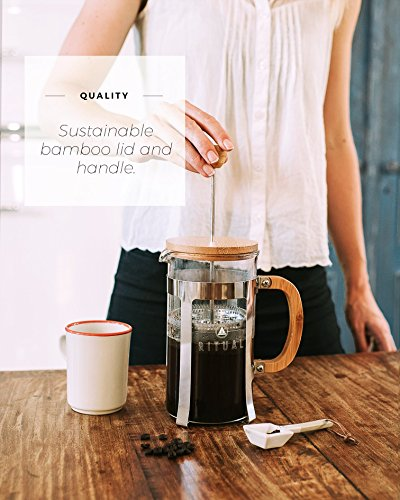 Ritual French Coffee Press, Bamboo Wood, Borosilicate Glass, and Stainless Steel, Coffee Maker with Bonus Filter 36oz/1000ml by Ritual (Image #3)