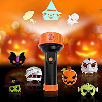 FLASH LIGHT PRANK TOY HALLOWEEN PARTY 5 SLIDES SPOOKY PROJECTION TRICK TORCH