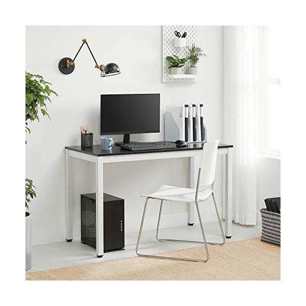 VASAGLE Bureau, Noir + Blanc, 120 x 60 x 76 cm