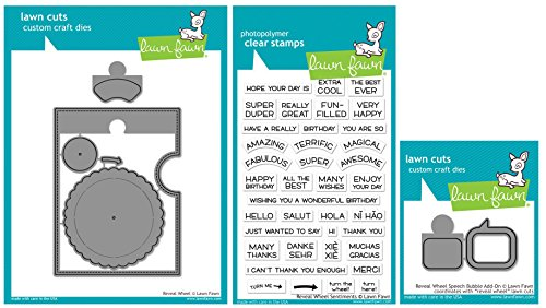 Lawn Fawn - Interactive Reveal Wheel Bundle - Wheel, Sentiments & Speech Bubble Add-on - Stamp and Die Sets - 3 Items by Lawn Fawn