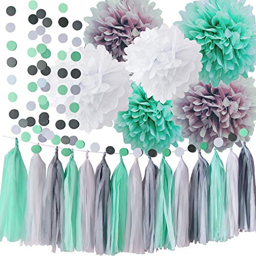 Mint Baby Shower Decorations/Mint Grey White Elephant Baby Shower Supplies Tissue Paper Pom Pom Circle Garland Tassel Garland Mint Bridal Shower Decorations/Mint Grey Birthday Party Decor ()