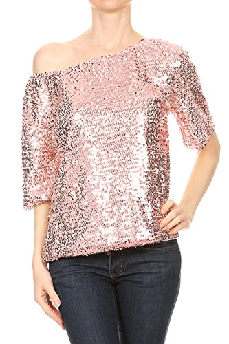 Anna-Kaci Womens Short Sleeve One Shoulder Sexy Sequin Top Blouse, Rose Gold, Large -