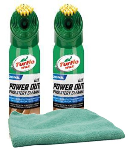 Turtle Wax Power Out Upholstery Cleaner (18 oz) Bundle with Microfiber Cloth (3 Items) -
