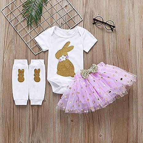 Tutu Skirt Set Leg Warmers Newborn Infant Baby Girls Easter Outfit Bunny Romper
