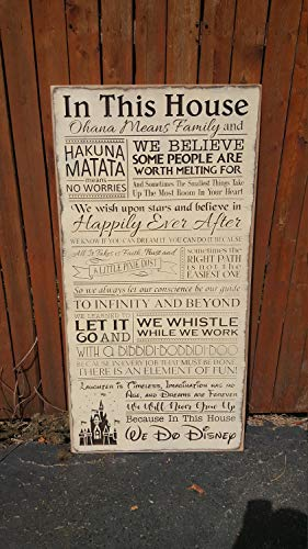 Adonis554Dan Custom Wooden Printed Wooden Signs In This House Ohana Means Family We do Fairytale Hukuna Matata Pixie Dist Happily Ever After 12x23