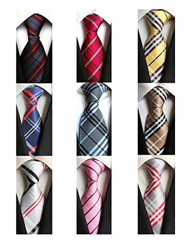 Welen Lot 9 PCS Classic Men's Tie Necktie Woven JACQUARD Neck Ties (Style 04)