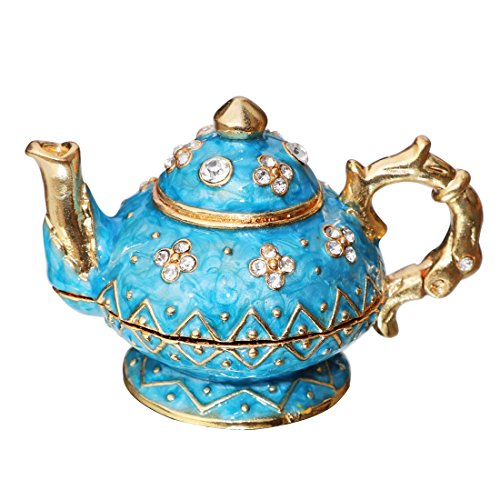 Waltz&F Retro light blue teapot Trinket Box Hinged Hand-painted Figurine Collectible Ring Holder