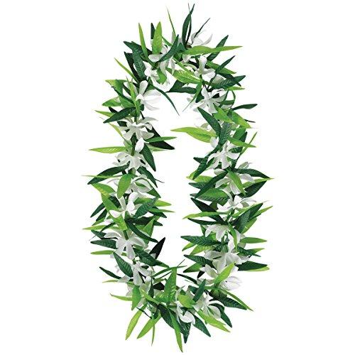 Green Leaf with Flowers Silk Hawaiian Lei ()