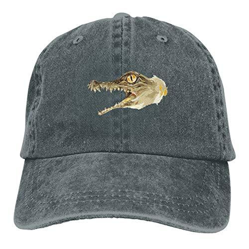 Baby Nile Crocodile Unisex Washed Denim Caps Cotton Adjustable Snapback Gym Hats One Size ()