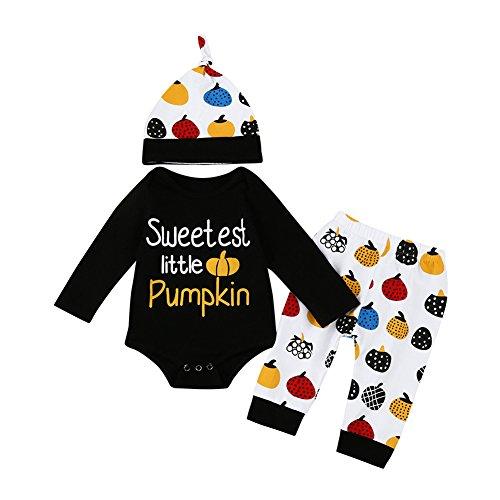 (Baby Unisex Boys Girls 1st Halloween Bodysuits Pumpkin Pants Hat Outfits 3pcs Set (Black, 12-18 Months) )