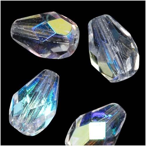 10 Mm Bead Drop (Czech Fire Polish Glass Beads 10 x 7mm Teardrop Crystal AB (12))