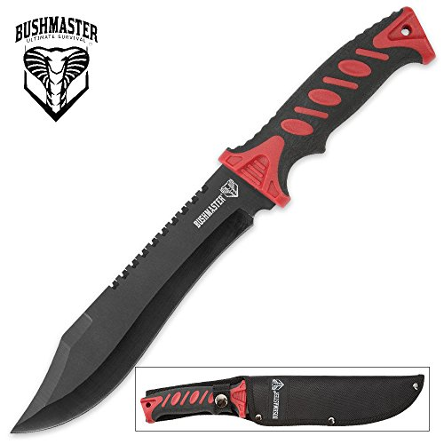 Bushmaster Survival Bowie Knife with Nylon Sheath - Red Handle Accents