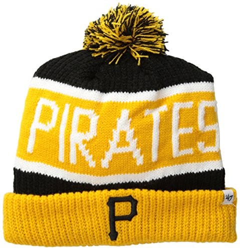 MLB Pittsburgh Pirates '47 Brand Calgary Cuff Knit Hat with Pom, Black, One Size